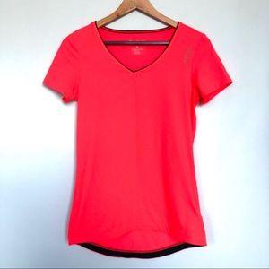 Reebok neon workout short sleeve t shirt v neck